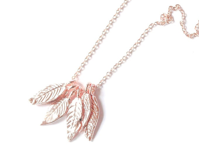 Rose gold plated necklace with 6 leaves