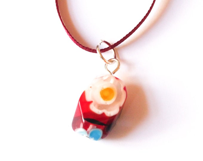 90 cm necklace with a large millefiori baroque bead, red