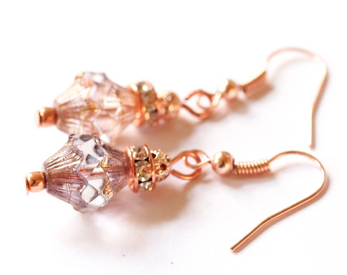 Earrings with amazing clear baroque bicone beads, rhinestone rondelles and rose gold elements