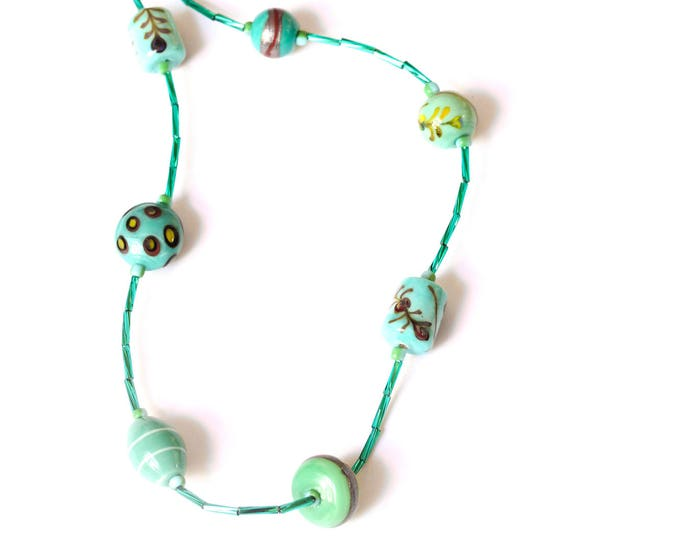 70 cm turquoise necklace with Indian ceramics beads and small glass beads