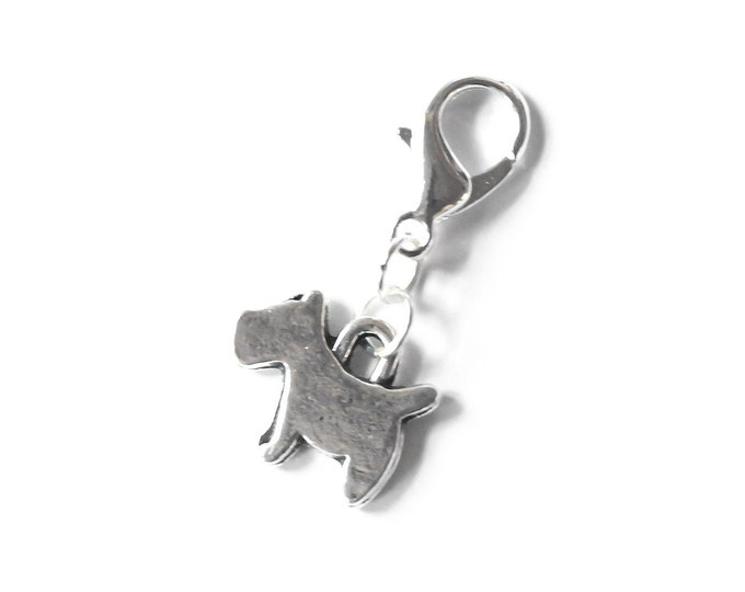 Charm with silver dog pendant, scottish terrier style