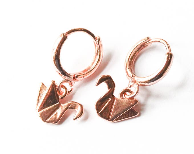 Hoop earrings (1 cm) with sterling silver swans, all rose gold plated