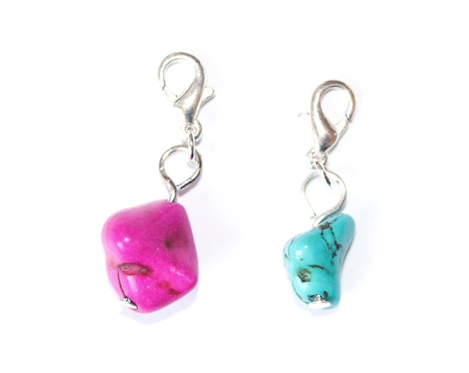 Charm / pet collar charm / pendant, with irregular bead, pink or turquoise