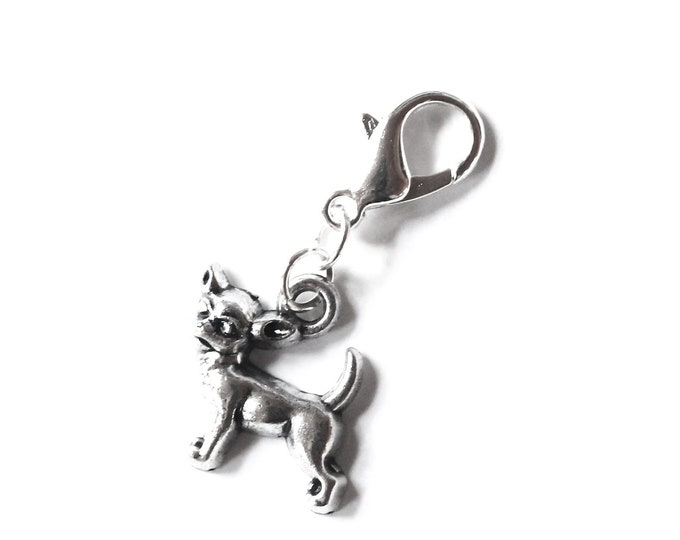 Charm with silver dog pendant, chihuahua