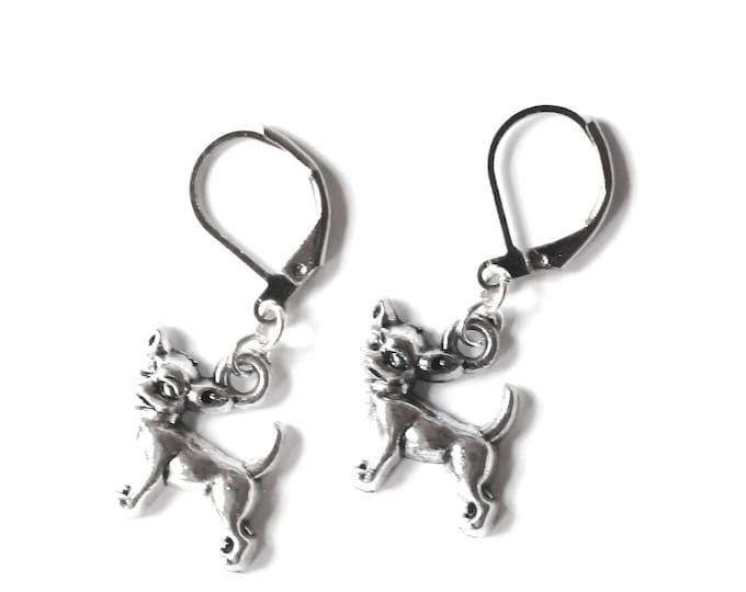 Silver chichuahua earrings