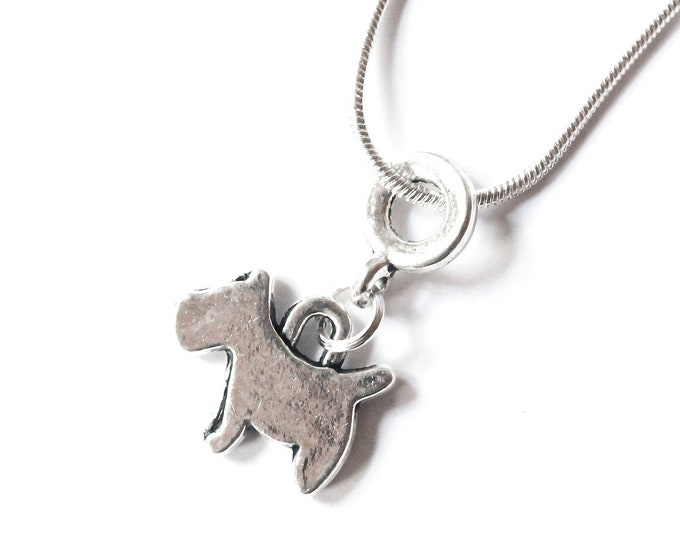Silver necklace with a dog pendant (Sottish terrier style)