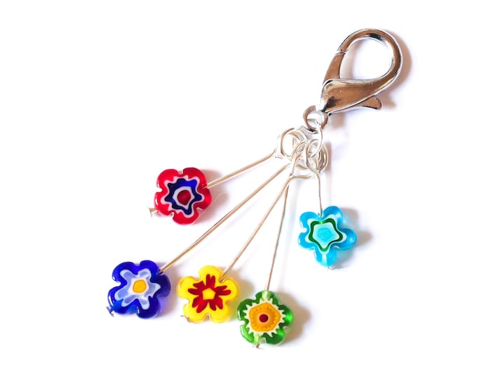 Charm / dog collar charm / pendant / keyring with 5 colourful flower beads