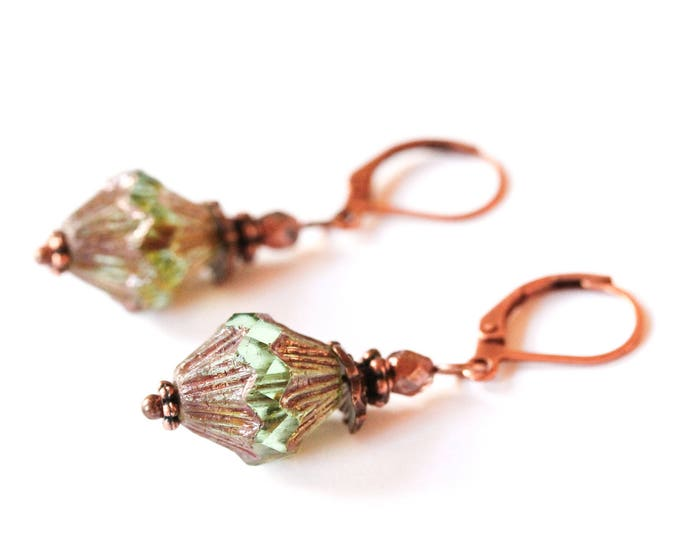 Earrings with amazing green baroque bicone beads and antique copper elements