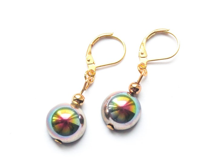 Gold leverbarck earrings with rainbow Czech glass domes