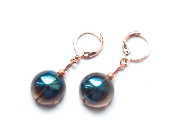 Rose gold hoop earrings with smoky blue Czech glass domes