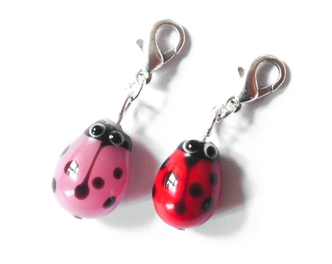 Charm / dog collar charm / pendant, with a glass ladybug, red or pink