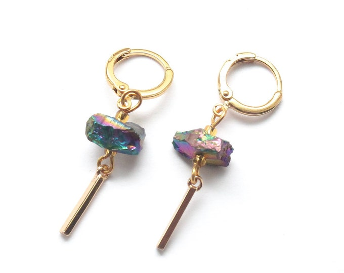 Gold plated hoop earrings with rainbow quartz and a gold plated bar pendant