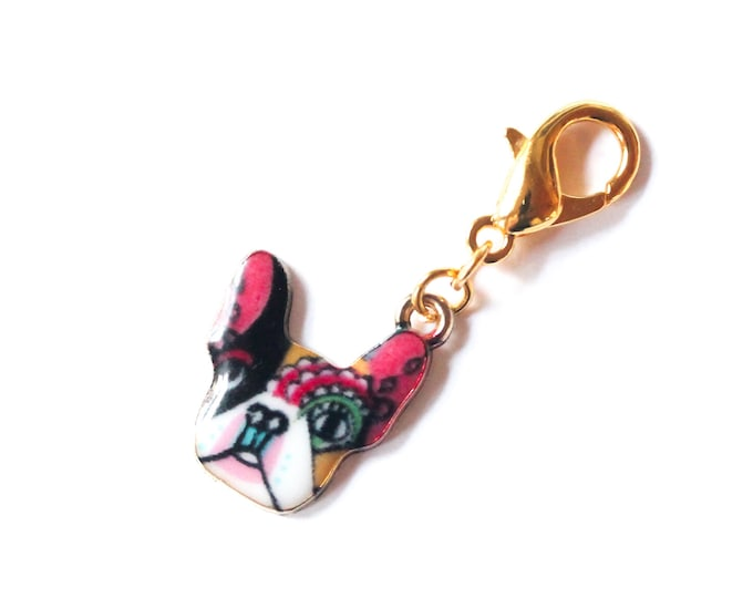 Charm with colourful dog pendant, Boston terrier or French bulldog