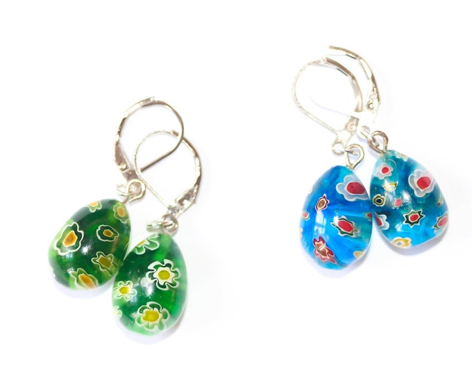 Earrings with large drop shaped millefiori beads, green or blue
