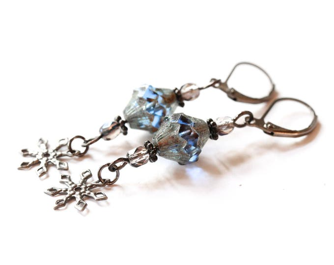 Earrings with amazing blue baroque bicone beads and gunmetal elements