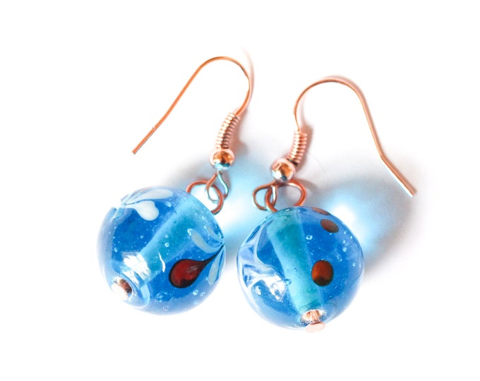 Rose gold earrings with blue Indian glass beads