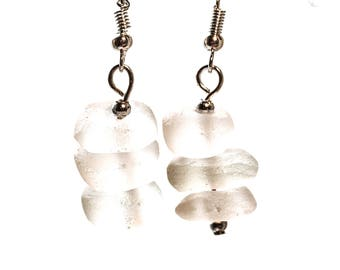 Earrings with white sea glass beads