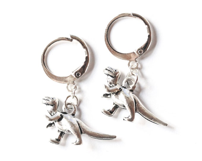 Silver dinosaur hoop earrings