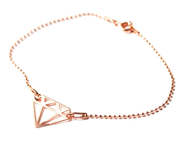 Bracelet with 925 sterling silver chain and diamond shape element, all rose gold plated