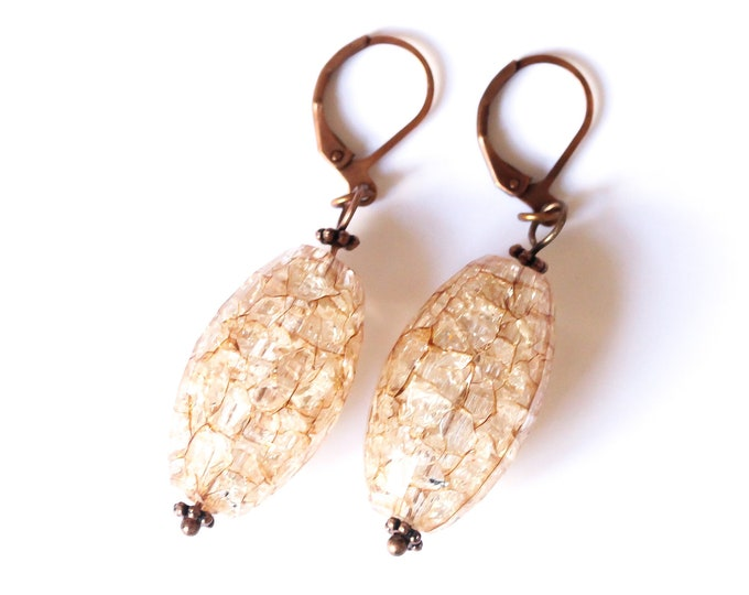 Earrings with large crackled beads and dark copper elements