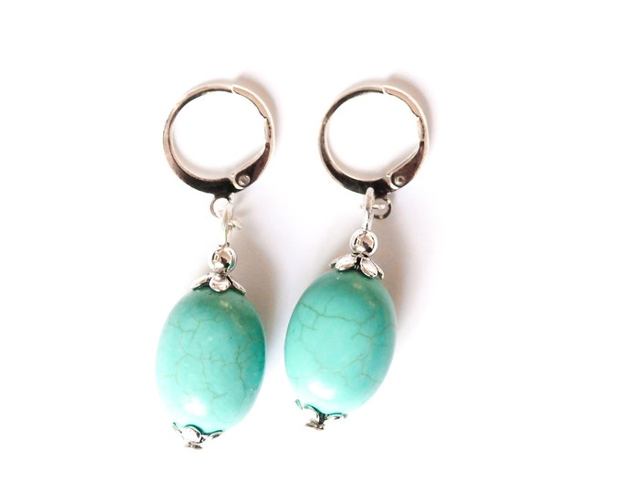 Earrings with large turquoise beads