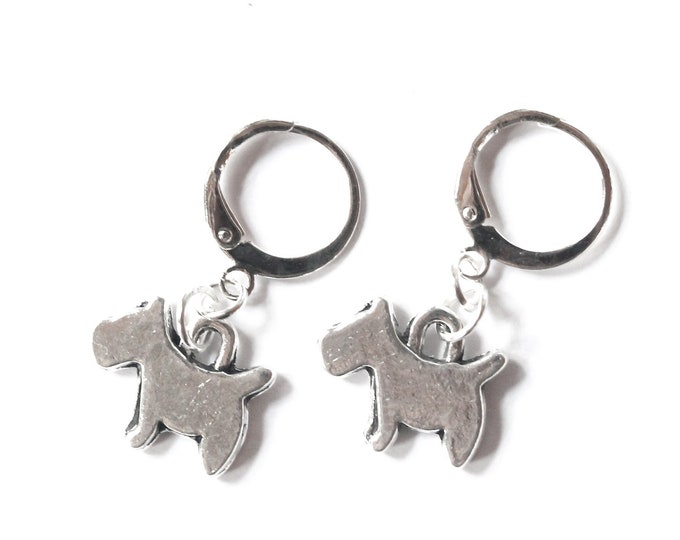 Silver dog earrings (Scottish terrier style)