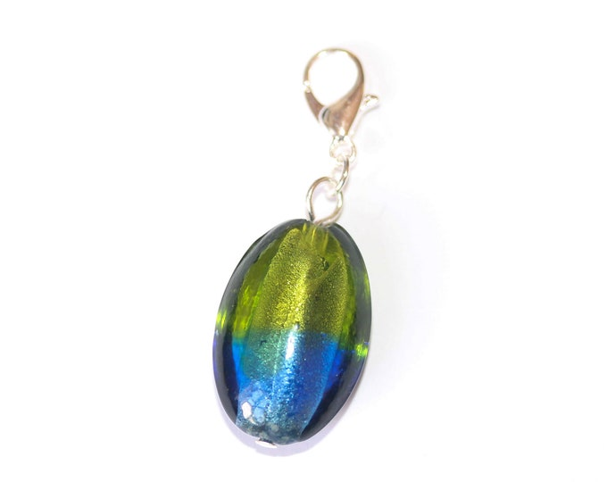 Charm / dog collar charm / pendant, with olive shaped Murano bead, green and blue