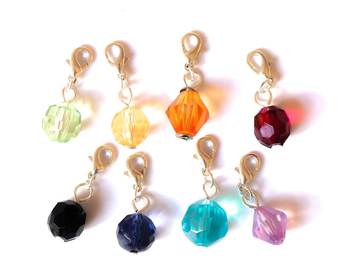 Charm / pet collar charm / pendant, with faceted bead, 8 colours available