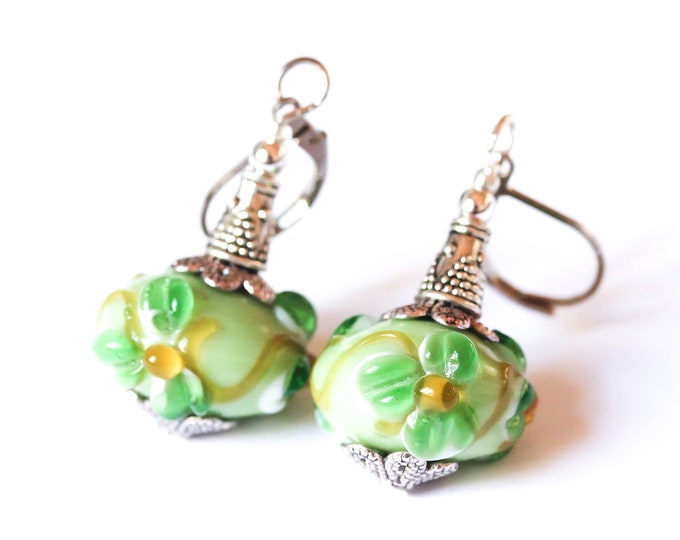 Earrings with large Indian glass beads, green