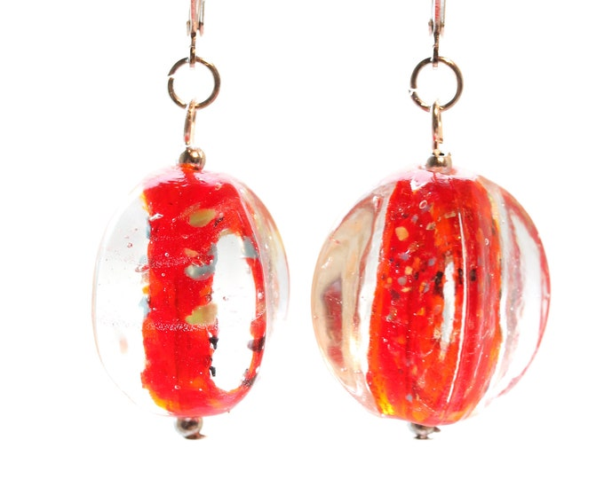 Amazing earrings with gorgeous Murano glass beads, red