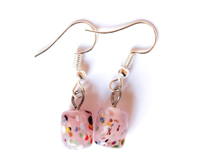Earrings with adorable pink glass beads, barrel shaped