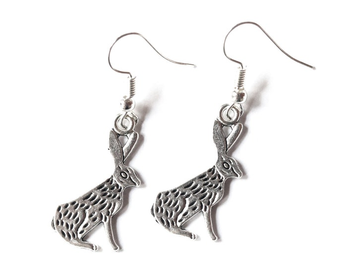 Silver rabbit earrings