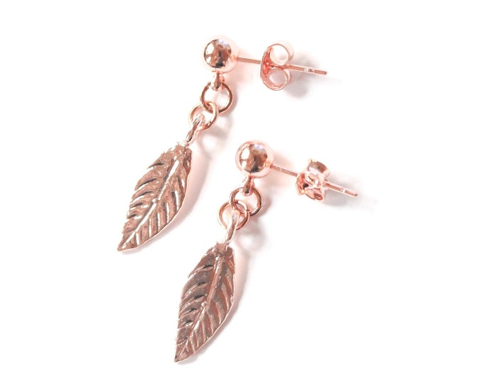 Rose gold plated stud earrings with leaves