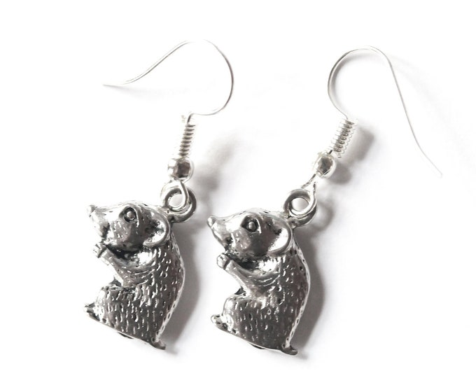 Silver hamster earrings