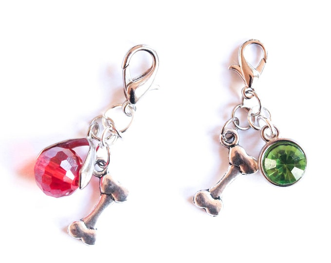 Dog collar charm with silver bone and coloured element