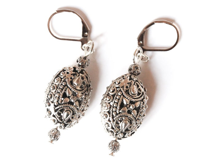 Earrings with large antique silver ethnic beads