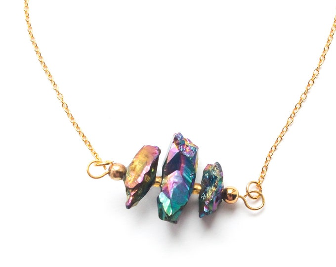 50 cm necklace with a thin gold chain and rainbow quartz pendants