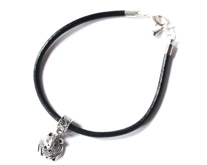 Leather bracelet (cord, black) with a silver guinea pig charm