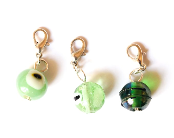 Charm / pet collar charm / pendant, with beautiful green glass bead, dark or light