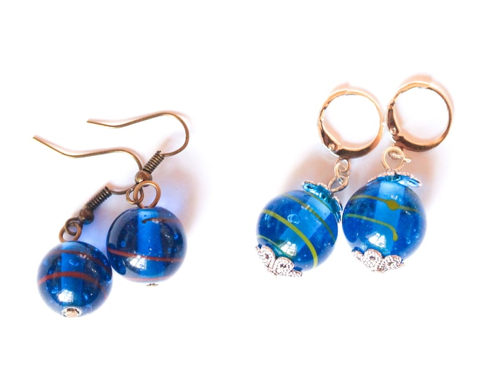 Earrings with blue Indian glass beads
