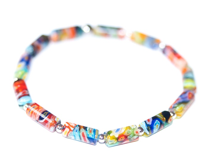 Bracelet with barrel shaped millefiori beads from Murano
