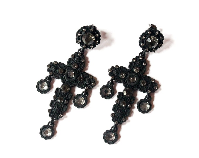 Gothic black earrings (studs) with a cross and rhinestones