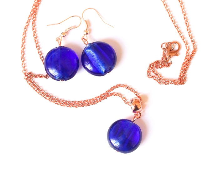 Jewelry set (60 cm rose gold plated necklace + earrings) with Murano glass beads, dark blue