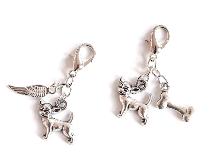 Dog collar charm (or cat collar charm) with chihuahua and bone or angel wing