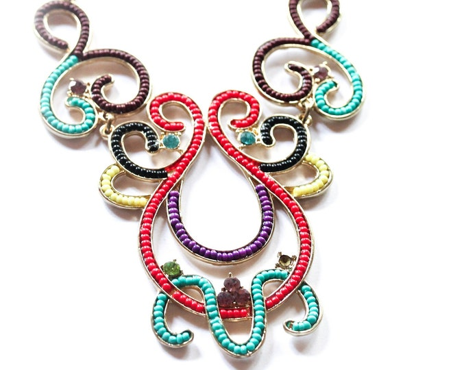 Vintage statement necklace, with soutache shaped beaded elements