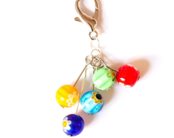 Charm / dog collar charm / pendant / keyring with 5 millefiori beads