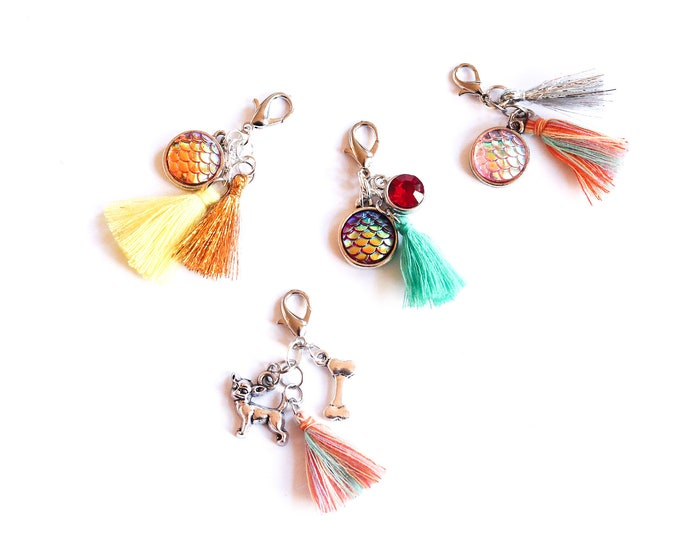 Dog collar charm (or cat collar charm) with tassel and 2 elements