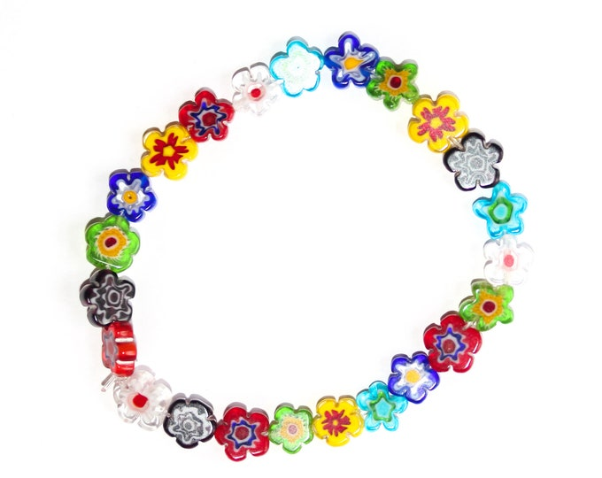 Bracelet with flower shaped millefiori beads from Murano