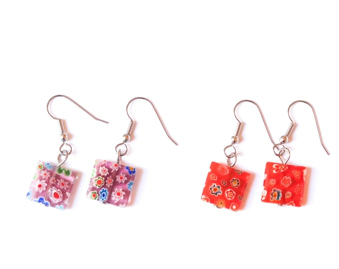 Earrings with square millefiori beads, several colours