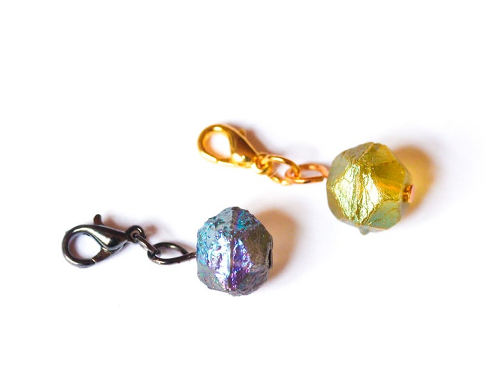 Charm / pet collar charm / pendant, with baroque beads looking like a meteorite